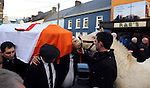 "8-12-2014; ""Peig"", Jackie Healy-Rae's pony is brought to meet Jackie for one final farewell in a poignant moment outside the bar in Kilgarvan, County Kerry  during the funeral of former South Kerry TD Jackie Healy-Rae Monday.<br /> Picture by Don MacMonagle"