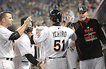 Ichiro Suzuki (Marlins),<br /> APRIL 8, 2015 - MLB :<br /> Ichiro Suzuki of the Miami Marlins high fives teammates in the dugout after the bottom of the seventh inning during the Major League Baseball game against the Atlanta Braves at Marlins Park in Miami, Florida, United States. (Photo by AFLO)