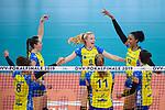 24.02.2019, SAP Arena, Mannheim<br /> Volleyball, DVV-Pokal Finale, SSC Palmberg Schwerin vs. Allianz MTV Stuttgart<br /> <br /> Jubel Kimberly Drewniok (#8 Schwerin), Denise Hanke (#10 Schwerin), Jennifer Geerties (#6 Schwerin), Beta Dumancic (#11 Schwerin), Mckenzie Adams (#13 Schwerin), Mckenzie Adams (#13 Schwerin)<br /> <br />   Foto © nordphoto / Kurth
