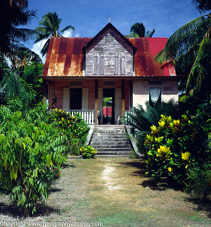 Old colonial style house with tin roof, La Digue, Seychelles