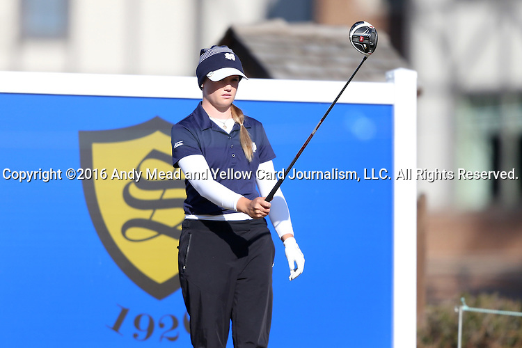 17 April 2016: Notre Dame's Maddie Rose Hamilton. The Second Round of the Atlantic Coast Conference's Women's Golf Championship was held at Sedgefield Country Club in Greensboro, North Carolina.