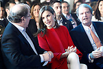 Queen Letizia of Spain (c) with President of Castilla y Leon Region, Juan Vicente Herrera (l) and the President of Foundation Princess of Girona, Francisco Belil Creixell during the proclamation of the winner of the '2017 Princess of Girona Foundation' Social category. March 30,2017. (ALTERPHOTOS/Acero)