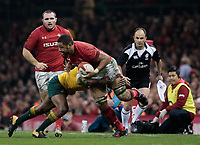 Wales' Taulupe Faletau is tackled by Australia's Marika Koroibete<br /> <br /> Photographer Simon King/CameraSport<br /> <br /> International Rugby Union - 2017 Under Armour Series Autumn Internationals - Wales v Australia - Saturday 11th November 2017 - Principality Stadium - Cardiff<br /> <br /> World Copyright &copy; 2017 CameraSport. All rights reserved. 43 Linden Ave. Countesthorpe. Leicester. England. LE8 5PG - Tel: +44 (0) 116 277 4147 - admin@camerasport.com - www.camerasport.com