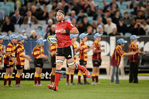 23.05.2015.  Sydney, Australia. Super Rugby. NSW Waratahs versus the Crusaders. Crusaders captain Kieran Read leads his team out. The Waratahs won 32-22.