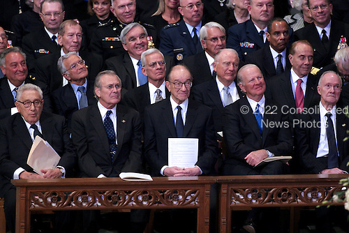 Former Secretary of State Henry Kissinger, former Secretary of Defense Donald Rumsfeld, former Chairman of the Federal Reserve Alan Greenspan, former Secretary of State James A. Baker, III, and former National Security advisor Brent Scowcroft watch the proceedings at the State Funeral for former United States President Gerald R. Ford at the Washington National Cathedral, in Washington, D.C. on Tuesday, January 2, 2007.  Former U.S. Senator Bob Dole (Republican of Kansas) is seated behind Scowcroft..Credit: Ron Sachs / CNP.[NOTE: No New York Metro or other Newspapers within a 75 mile radius of New York City].