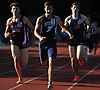Clayton Santiago of Bethpage, center, legs out a victory in the Division 1 boys 800 meter race during Day 1 of the Nassau County track & field individual championships and state qualifiers at North Shore High School in Glen Head on Wednesday, May 30, 2018.