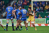 June 3rd 2017, NIB Stadium, Perth, Australia; Super Rugby; Force v Hurricanes;  Francois van Wyk of the Western Force tussles with Ardie Savea of the Hurricanes