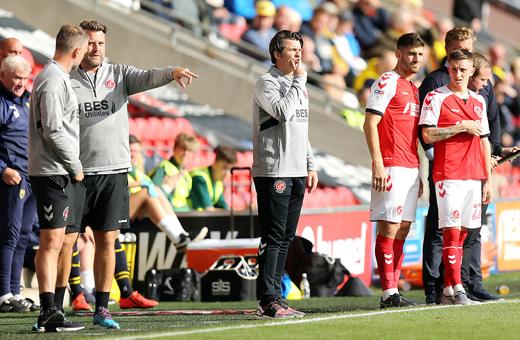 Fleetwood Town manager Joey Barton reacts in his technical area<br /> <br /> Photographer Rich Linley/CameraSport<br /> <br /> The EFL Sky Bet League One - Fleetwood Town v Oxford United - Saturday 7th September 2019 - Highbury Stadium - Fleetwood<br /> <br /> World Copyright © 2019 CameraSport. All rights reserved. 43 Linden Ave. Countesthorpe. Leicester. England. LE8 5PG - Tel: +44 (0) 116 277 4147 - admin@camerasport.com - www.camerasport.com