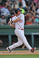 Third baseman Mitchell Gunsolus (22) of the Greenville Drive bats in a game against the Augusta GreenJackets on Thursday, June 9, 2016, at Fluor Field at the West End in Greenville, South Carolina. Augusta won, 8-2. (Tom Priddy/Four Seam Images)