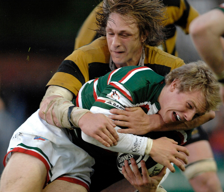 Photo: Richard Lane..Leicester Tigers A v London Wasps A. Guinness A League Final. 07/05/2007. .Tigers' Greig Tonks is tackled by Wasps' Martin Purdy.