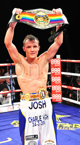 21.05.2014.  Leeds, England.  Josh Warrington celebrates retaining his Commonwealth belt after being given the victory on points from Martin Lindsay following their fight at The First Direct Arena.
