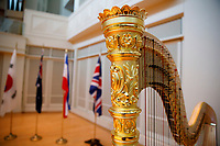 The Lyon and Healy Concert Grand Harp stands on stage before the opening ceremony of the 11th USA International Harp Competition at Indiana University in Bloomington, Indiana on Wednesday, July 3, 2019. (Photo by James Brosher)
