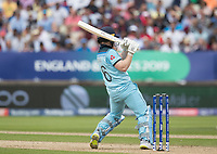 Eoin Morgan (England) pulls square of the wicket during Australia vs England, ICC World Cup Semi-Final Cricket at Edgbaston Stadium on 11th July 2019