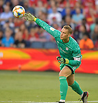 Goalkeeper Manuel Neuer (1) of Bayern Munich throws out the ball during their International Champions Cup match against Milan on July 23, 2019 at Children's Mercy Park in Kansas City, KS.<br /> Tim VIZER/AFP