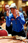 Actor James Kyson Lee reacts to being knocked out from the final table.