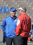 October 24, 2015 - Colorado Springs, Colorado, U.S. - Air Force head coach, Troy Calhoun, and Fresno State head coach, Tim DeRuyterl, prior to the NCAA Football game between the Fresno State Bulldogs and the Air Force Academy Falcons at Falcon Stadium, U.S. Air Force Academy, Colorado Springs, Colorado.  Air Force defeats Fresno State 42-14.