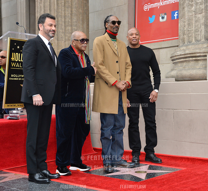 LOS ANGELES, CA. November 19, 2018: Jimmy Kimmel, Quincy Jones, Snoop Dogg &amp; Dr Dre at the Hollywood Walk of Fame Star Ceremony honoring Snoop Dogg.<br /> Pictures: Paul Smith/Featureflash