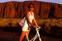 Ayers Rock Australia, Girl on a old fashion Bike
