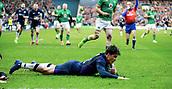 9th February 2019, Murrayfield Stadium, Edinburgh, Scotland; Guinness Six Nations Rugby Championship, Scotland versus Ireland; Sam Johnson (Scotland) rounds to score
