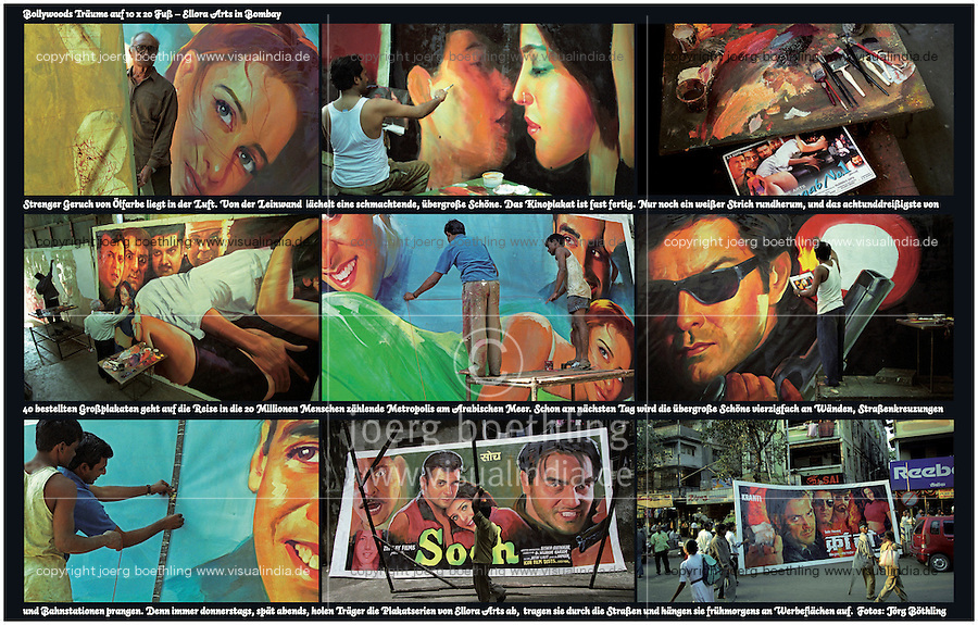 INDIA, Bombay, Mumbai, Large wall poster of nine photos from Ellora Arts, an artist workshop who paint large Bollywood movie poster, images taken in year 2002 - all photos by Joerg Boethling, text by Dierk Jensen, design by Mehmet Alatur - Please contact me if you want to order this poster on specific material and size! My email: info@visualindia.de