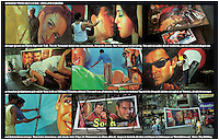 INDIA, Bombay, Mumbai, Large wall poster of nine photos from Ellora Arts, an artist workshop who paint large Bollywood poster - photos by Joerg Boethling, text by Dierk Jensen, design by Mehmet Alatur - Please contact me if you want to order this poster on specific material and size! My email: info@visualindia.de
