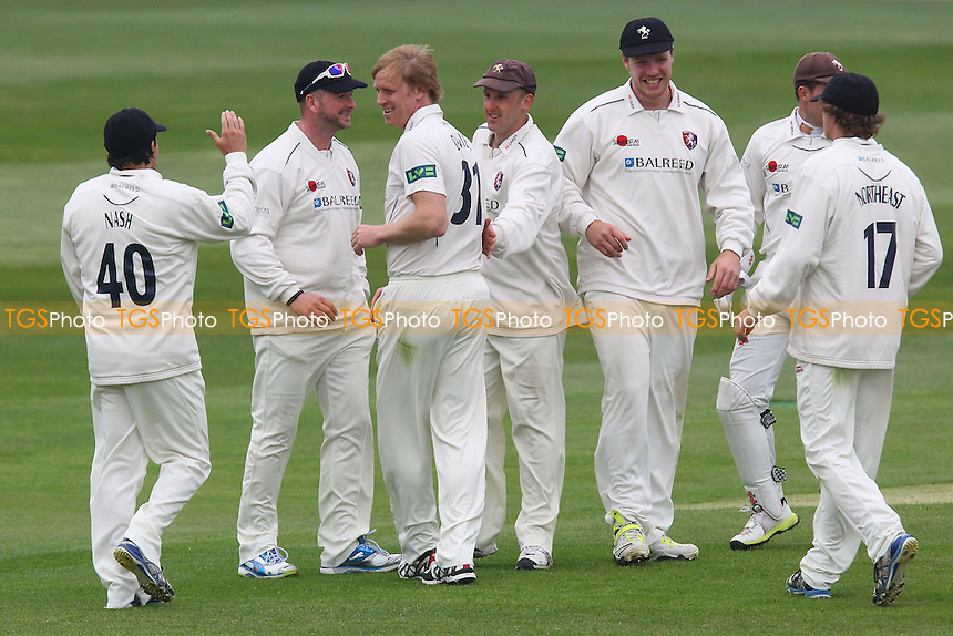 Mark Davies of Kent (3rd L) celebrates the wicket of Jaik Mickleburgh - Essex CCC vs Kent CCC - LV County Championship Division Two Cricket at the Essex County Ground, Chelmsford - 22/05/13 - MANDATORY CREDIT: Gavin Ellis/TGSPHOTO - Self billing applies where appropriate - 0845 094 6026 - contact@tgsphoto.co.uk - NO UNPAID USE.