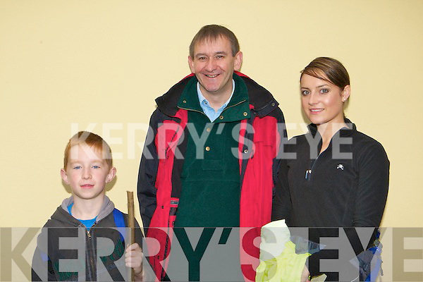 Sean O'Shea, Michael Gorman and Catherine Moynihan at the Multiple Sclerosis Old Kenmare road walk on Sunday morning    .
