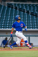 AZL Cubs left fielder Jonathan Sierra (22) at bat against the AZL Diamondbacks on August 11, 2017 at Sloan Park in Mesa, Arizona. AZL Cubs defeated the AZL Diamondbacks 7-3. (Zachary Lucy/Four Seam Images)