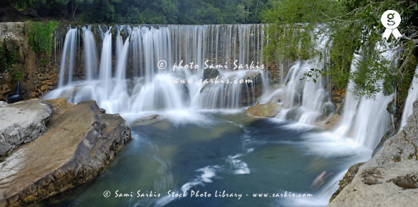 France, Cevennes region, Saint-Laurent-Le-Minier, panoramic view of waterfalls on La Vis river (Licence this image exclusively with Getty: http://www.gettyimages.com/detail/sb10065474aq-001 )