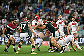 4th November 2017, Sydney Football Stadium, Sydney, Australia; Rugby League World Cup, England versus Lebanon; Chris Hill of England tries to break through as Jason Wehbe of Lebanon approaches