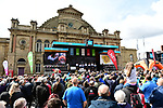 Teams introduced on stage before the start of Stage 1 of the 2019 Tour de Yorkshire, running 178.5km from Doncaster to Selby, Yorkshire, England. 2nd May 2019.<br /> Picture: ASO/SWPix | Cyclefile<br /> <br /> All photos usage must carry mandatory copyright credit (&copy; Cyclefile | ASO/SWPix)