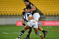 Wellington&rsquo;s Sam Lousi and Auckland&rsquo;s Tumua Manu in action during the Mitre 10 Cup - Wellington v Auckland at Westpac Stadium, Wellington, New Zealand on Thursday 4 October 2018. <br /> Photo by Masanori Udagawa. <br /> www.photowellington.photoshelter.com