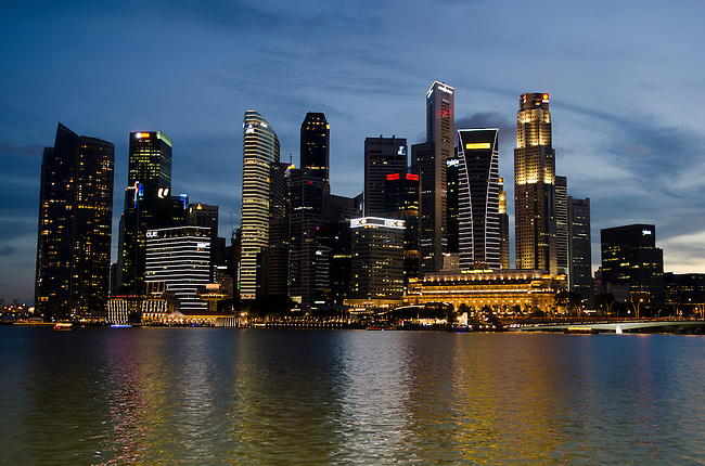 Singapore Skyline along Marina Bay