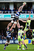 Dominic Day of Bath Rugby wins the ball at a lineout. Aviva Premiership match, between Bath Rugby and Sale Sharks on April 23, 2016 at the Recreation Ground in Bath, England. Photo by: Patrick Khachfe / Onside Images