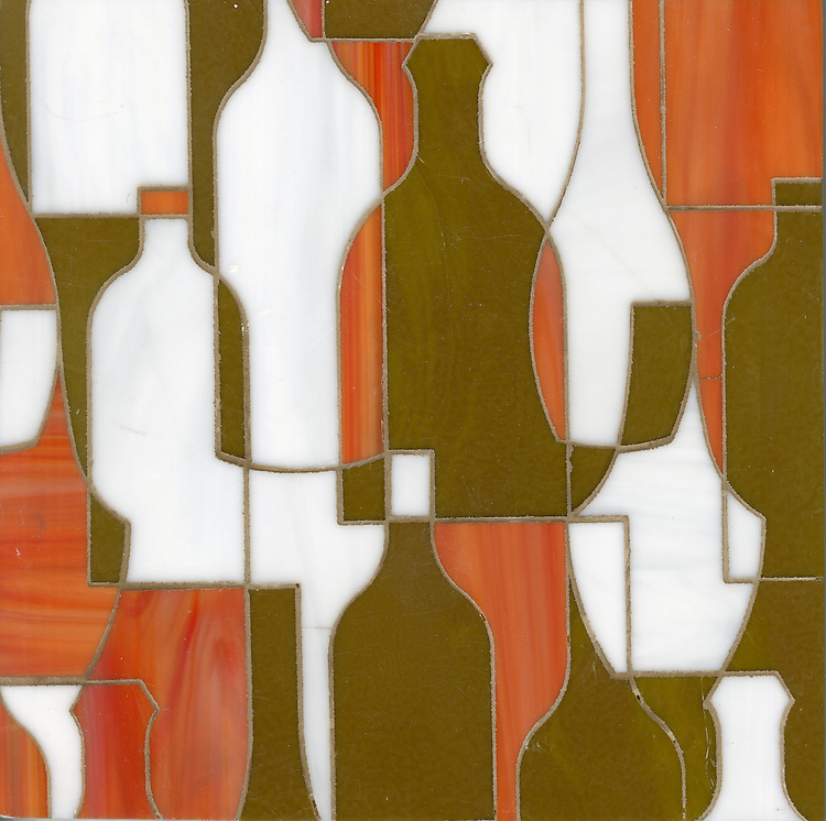 Bottles, a glass waterjet mosaic shown in Sardonyx, Moonstone and Tortoise Shell, is part of the Erin Adams Collection for New Ravenna.