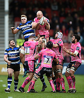 Matt Kvesic of Exeter Chiefs wins the ball at a lineout. Anglo-Welsh Cup Final, between Bath Rugby and Exeter Chiefs on March 30, 2018 at Kingsholm Stadium in Gloucester, England. Photo by: Patrick Khachfe / Onside Images