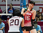 Wing spiker Risa Ishii (R) of Japan celebrates with her teammates during the FIVB Volleyball World Grand Prix - Hong Kong 2017 match between Japan and Serbia on 22 July 2017, in Hong Kong, China. Photo by Yu Chun Christopher Wong / Power Sport Images