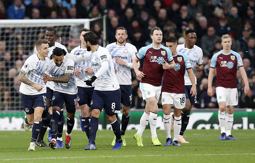 Everton's Lucas Digne (left) celebrates with team-mates after scoring his side's second goal from a free-kick<br /> <br /> Photographer Rich Linley/CameraSport<br /> <br /> The Premier League - Burnley v Everton - Wednesday 26th December 2018 - Turf Moor - Burnley<br /> <br /> World Copyright © 2018 CameraSport. All rights reserved. 43 Linden Ave. Countesthorpe. Leicester. England. LE8 5PG - Tel: +44 (0) 116 277 4147 - admin@camerasport.com - www.camerasport.com