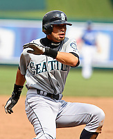 Seattle center fielder Ichiro Suzuki gets caught in a run-down during the game against the Royals at Kauffman Stadium in Kansas City, Missouri on May 27, 2007.  The Mariners won 7-4.