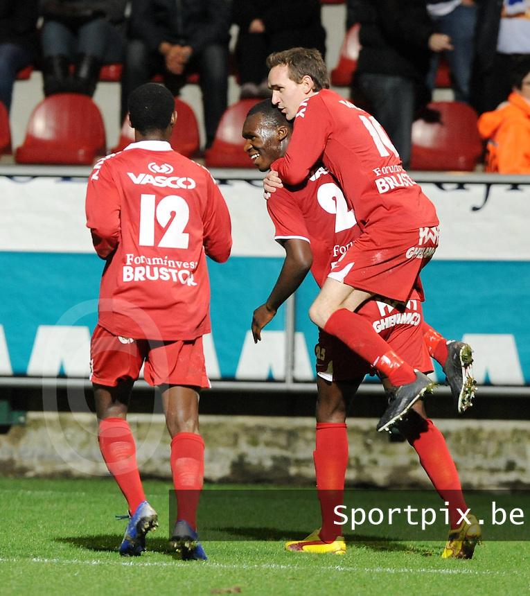 KV Kortrijk - KRC Genk..vreugde na de gelijkmaker van Christian Liolo Benteke ..foto VDB / BART VANDENBROUCKE