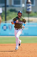 Biloxi Shuckers second baseman Nick Franklin (4) runs the bases during a game against the Jacksonville Jumbo Shrimp on May 6, 2018 at MGM Park in Biloxi, Mississippi.  Biloxi defeated Jacksonville 6-5.  (Mike Janes/Four Seam Images)