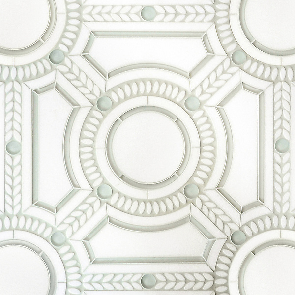 Augustus, a stone and glass waterjet mosaic, shown in Thassos honed, Thassos tumbled, and Tropical White glass. Designed by Sara Baldwin Designs for New Ravenna.<br />