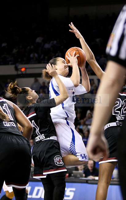 Kentucky guard Makayla Epps shoots during the second half of the UK vs. South Carolina at Memorial Coliseum in Lexington , Ky., on Sunday, March 1, 2015. Photo by Jonathan Krueger | Staff