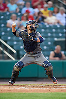 Lehigh Valley IronPigs catcher Logan Moore (35) throws to second base during a game against the Rochester Red Wings on June 30, 2018 at Frontier Field in Rochester, New York.  Lehigh Valley defeated Rochester 6-2.  (Mike Janes/Four Seam Images)