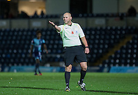 Referee Charles Breakspear during the The Checkatrade Trophy Southern Group D match between Wycombe Wanderers and Coventry City at Adams Park, High Wycombe, England on 9 November 2016. Photo by Andy Rowland.