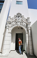 May 3 2019. San Diego, CA. |A replica of a facade on the ouside of the Plunge the historic swimming pool at Belmont Park in Mission Beach  will soon open again after being remodeled.   | Photos by Jamie Scott Lytle. Copyright.