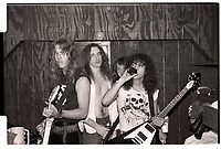 Metallica backstage at Mickey's in Milwaukee, WI. August 14, 1983.  <br /> CAP/MPI/GA<br /> ©GA//MPI/Capital Pictures