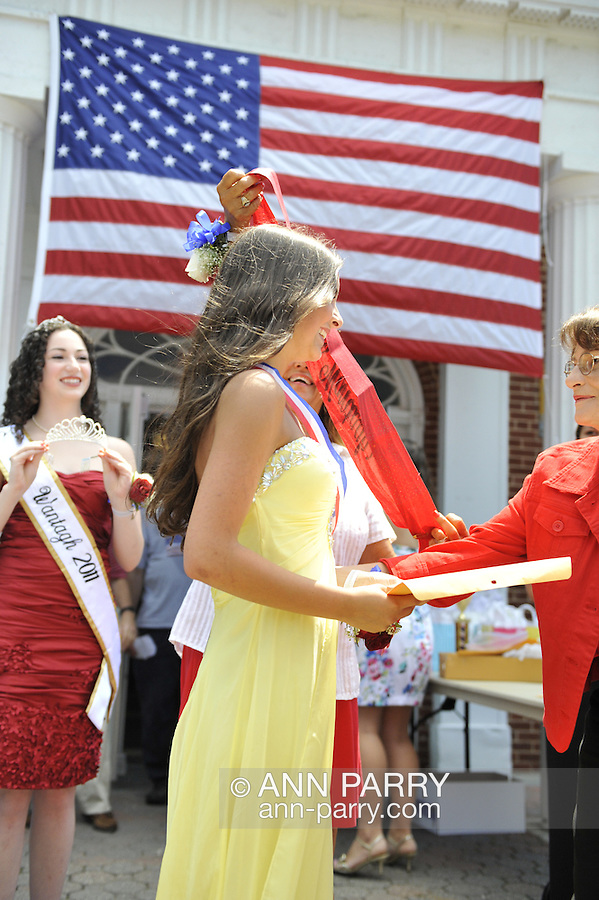 Miss Wantagh Pageant ceremony, a long-time Independence Day tradition on Long Island, is Wednesday, July 4, 2012, at Wantagh School, New York, USA. The Town Clerk announced winner Hailey Orgass, Miss Wantagh 2012, who was crowned by Kara Arena, Miss Wantagh 2011. Since 1956, the Miss Wantagh Pageant, which is not a beauty pageant, has crowned a high school student based mainly on academic excellence and community service.