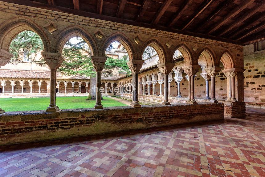 France, Tarn-et-Garonne (82), Moissac, abbaye Saint-Pierre, classé patrimoine mondial de l'UNESCO, le cloître // France, Tarn et Garonne, Moissac, Saint Pierre Abbey, listed as World Heritage by UNESCO, cloister