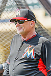 19 March 2015: Miami Marlins first base coach Perry Hill watches batting practice prior to a Spring Training game against the Atlanta Braves at Champion Stadium in the ESPN Wide World of Sports Complex in Kissimmee, Florida. The Braves defeated the Marlins 6-3 in Grapefruit League play. Mandatory Credit: Ed Wolfstein Photo *** RAW (NEF) Image File Available ***